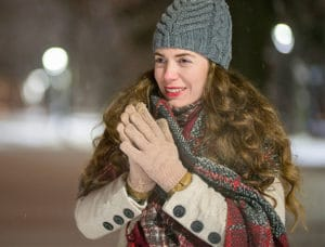 Image of woman in thick winter clothes
