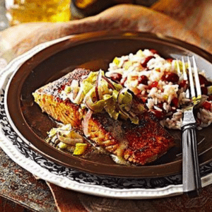 Image of cajun-rubbed salmon on a plate
